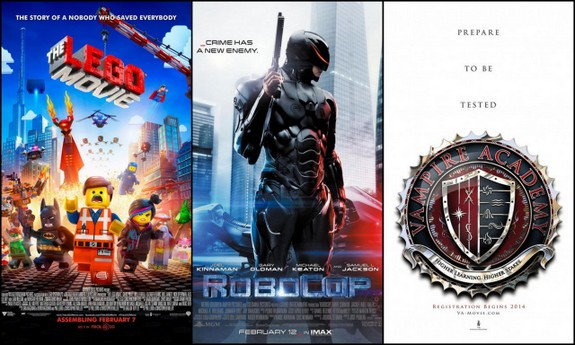 Lego Movie,Robocop and Vampire Academy